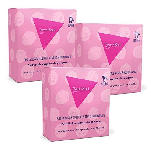 SweetSpot Labs Single Personal Wipettes Multi-Pack, 7 Singles Per Box, Vanilla Blossom, Grapefruit Verbena, Neroli Mandarin (Pack of 3) - Mandarin Blossom
