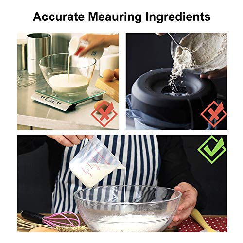 Plastic Measuring Cup, Measuring Cup Set of 3 BPA-free Stackable Clear Heat-resistant with Angled Grip and Spout for Flour Oil Powder (4/2/1 Cup Capacity)