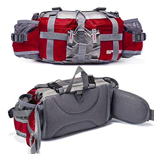 (Bp Vision Outdoor Fanny Pack Hiking Camping Fishing Waist bag 2 Water Bottle Holder Lumbar Pack red)