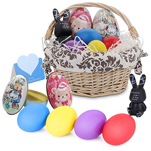 HomeMall Easter Eggs with Basket ,9PCS Wood DIY Easter Toy , Personalized Willow Handwoven for Kids Theme Party with Stuffers Fillers for $<!--$16.98-->