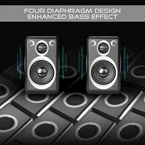 Computer Speakers With Surround Sound 2.0CH USB Wired Powered Multimedia Speaker for Desktop/TV/PC/Laptops/Smart Phone RECCAZR Built-in Four Loudspeaker Diaphragm (Gray) by RECCAZR (Image #2)