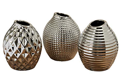 - WHW Whole House Worlds Iconic Scandinavian Style Vases, Set of 3, 1 Faceted, 1 Ringed and 1 Diamond Pattern, Silver Glazed Stoneware, Gourd Shaped, 5 1/8 Inches High