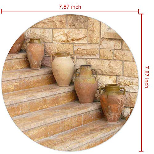 Mouse Pad Round Mouse Pad Amphora Vases Pottery Stairs Gradually #64978 Series 200mm3mm