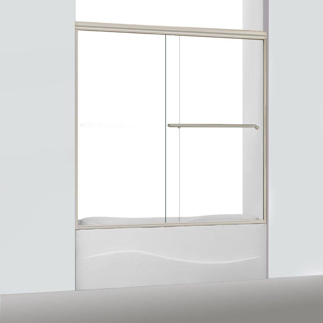 60 x 62 ELEGANT Bypass Sliding Bath Tub Glass Shower Door 5//16 Heavy Clear Shower Glass Panel Brushed Nickel Finish