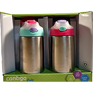 Contigo Kids 2 Pack Autospout Striker Flip Chill Stainless Steel Water Bottle