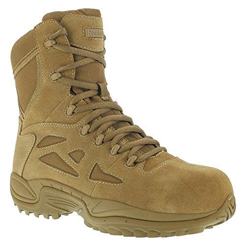Reebok Mens Coyote Leather Tactical Boots Rapid Response 8in Stealth CT 8.5 M Tan