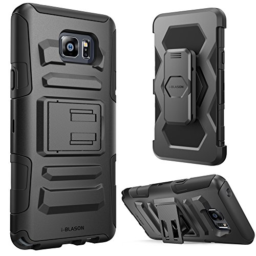 (Galaxy Note 5 Case, i-Blason Prime Series Dual Layer Holster for Samsung Galaxy Note 5 with Kickstand and Locking Belt Swivel Clip (Black))