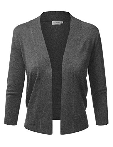 JJ Perfection Women's Basic 3/4 Sleeve Open Front Cropped Cardigan CHARCOALGREY L