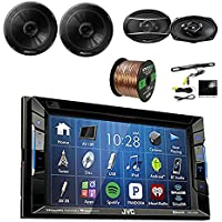 JVC KW-V130BT 2DIN BT Car Stereo Receiver, touchscreen with Pyle License Plate Mount Rear View Color Camera, Pioneer 6.5 2-Way SPKR 250W, Pioneer 6x9 420W 3-Way SPKR & Enrock 16G 50 SPKR Wire