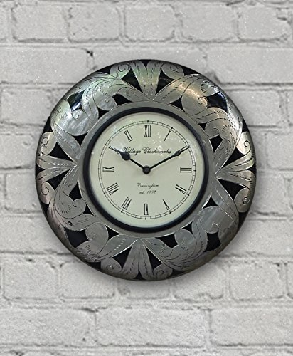 Round Wooden Decorative Wall Clock Ornate Floral Silver with Roman Numeral Clock Face 12 Inch
