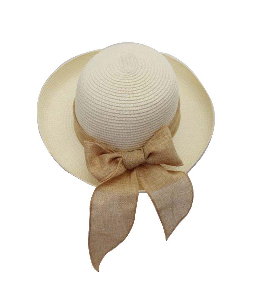 Donna Cappello di paglia estivo cappelli spiaggia cappello da sole ,cappello di paglia cima piatta T...