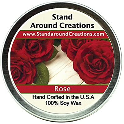 Premium 100% All Natural Soy Wax Aromatherapy Candle - 8oz Tin -Rose: A garden of red roses blooms from this artistically designed floral bouquet.