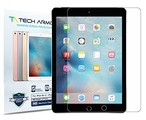 iPad Air Screen Protector, Tech Armor High Definition HD-Clear Film Screen Protector for Apple iPad Air / Air 2 / NEW iPad 9.7 (2017) [2-Pack]