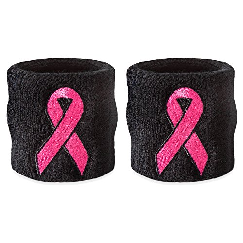 Suddora Pink Ribbon Wristbands - Breast Cancer Awareness Sweatband 10 Single Pack - Wristband Breast Cancer