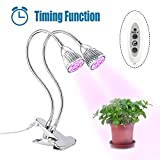 LED Grow Light, Timing Function Plant Grow Lamp for Indoor/Office Plants 14W Dual Head with 360°Adjustable Gooseneck, 3/6/12H Timer,3 Light Modes, 4 Dimmable Level For Sale