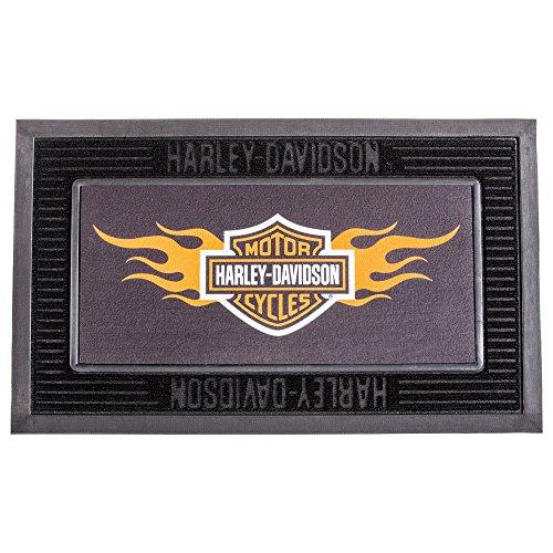 Harley-Davidson Entry Floor Mat, Flame Bar & Shield Kitted Set, Black (Flame Harley Davidson Boots)
