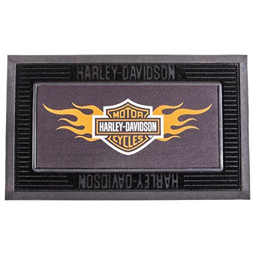 Harley-Davidson Entry Floor Mat, Flame Bar & Shield Kitted Set, Black (Motorcycle Garage Mat)