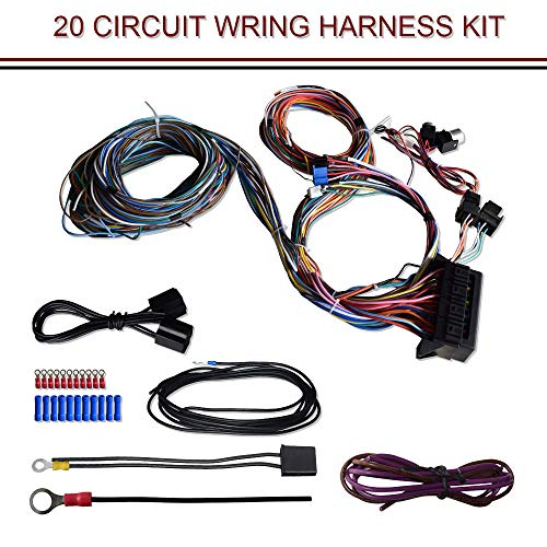 TERRAIN VISION 20 Circuit Wiring Harness Kit Hot Rod Universal Wiring Harness Universal for Muscle Car Hot Rods Street Rods New