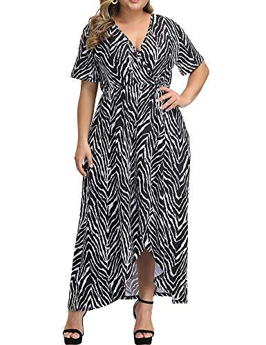Allegrace Women Plus Size Maxi Dresses Snakeskin Wrap V Neck Summer Casual Flowy Long Dress P48 Zebra-Stripe Black 1X