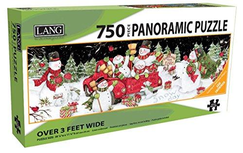 (Sam Snowman 750 Piece Panoramic Jigsaw Puzzle 38.25w X 11.25