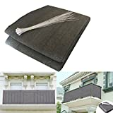 Shsyue 2017 Balcony Privacy Filter – Weather-resistant Wind Screen Anthracite UV protection Balcony Covering with Cable Ties 500x90 cm N