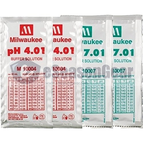 4x20ml, pH 4 + 4 + 7 + 7 Milwaukee Buffer Solution, for Digital pH Meter Calibration