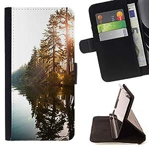 Momo Phone Case / Flip Funda de Cuero Case Cover - Lago del Sol a través de árboles - MOTOROLA MOTO X PLAY XT1562