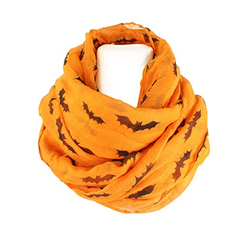 Vampire Bat Print Goth Scary Halloween Soft Light Loop Infinity Scarf Orange