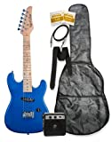 "32"" Metallic Blue Junior Kids Mini 1/2 Size Electric Starter Guitar and Amplifier Pack with Free Gig Bag and Accessories & DirectlyCheap(TM) Translucent Blue Medium Guitar Pick"