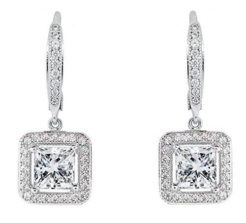 NYC Sterling Women Princess Cut Cubic Zirconia Drop Lever Back Earrings