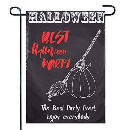 Love fled Best Halloween Party Double Sided Premium Spring Garden Decorative Flag, Weather Resistant & Double Stitched - 18 x 12.5 Inch]()