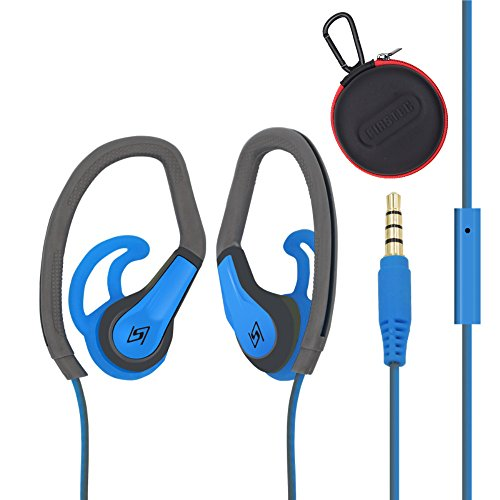 FIRSTEC Workout Earphones Sweatproof Sport In Ear Bass Headphones Stereo Sound for Most Audio Device with In-line Microphone Control and 3.5mm gold plated jack Running Gym Exercise for iphone Android For Sale