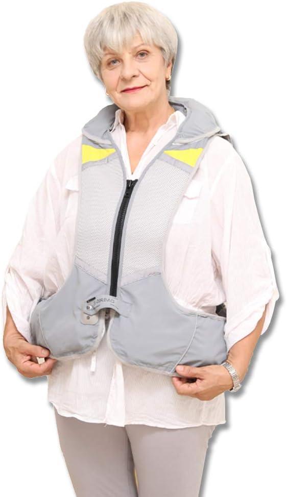 MZBZYU Reutilizable Chaleco Airbag Moto Equipo de Protección de Caídas, Protección para Espalda y Cadera y Cuello y Coxis, para Moto Bicicleta Ciclismo Equitacion Hípica y Ancianos,Gris,XL