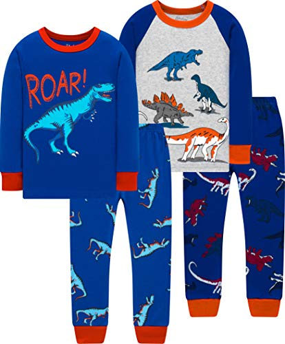 shelry Pajamas for Boys Christmas Kids Dinosaurs Sleepwear Baby Girls Clothes 4 Pieces Pants Set