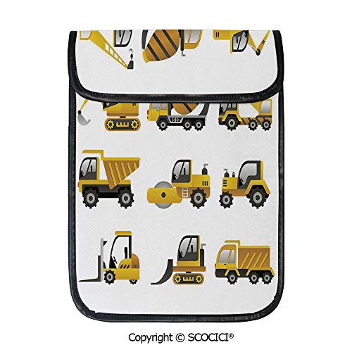 SCOCICI Simple Protective Big Vehicles Icon Collection Engineering Building Theme Clip Art Style Decorative Pouch Bag Sleeve Case Cover for 12.9 inches Tablets