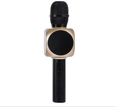 HUBI Micrófono inalámbrico, Micrófono de pie, Máquina de Audio Bluetooth, Teléfono móvil, Karaoke portátil, Apto para Todos los teléfonos Inteligentes,Oro: Amazon.es: Deportes y aire libre