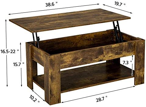 home, kitchen, furniture, living room furniture, tables,  coffee tables 5 image Yaheetech Rustic Lift Top Coffee Table w/Hidden in USA