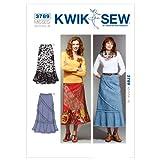 Kwik Sew K3789 Patchy Skirts Sewing Pattern, Size XS-S-M-L-XL