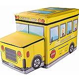GTC Storage Box PORTABLE & FOLDABLE LAUNDRY BOX CUM SITTING STOOL Folding/sitting stool/stool/pouffes for living room/puffy stool (57 cm x 32 cm x 25 cm) (School Bus)