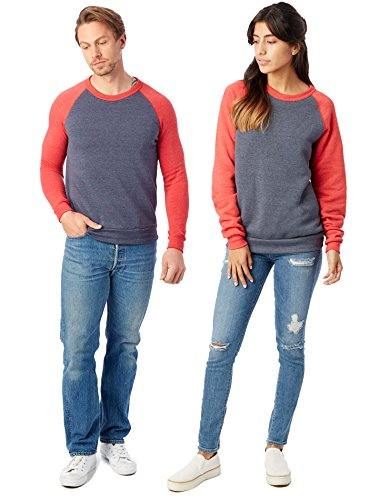 Raglan Sweatshirt (Alternative Men's Colorblock Champ, Navy/Red, Large)