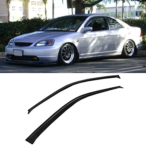 VIOGI2pcs Front Door Dark Smoke Outside Mount Style Sun Rain Guard Vent Shade Window Visors Fit 01-05 Honda Civic 2-Door Coupe (03 Civic 2 Door)