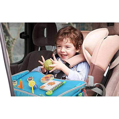 EocuSun Travel Tray Kids Snack Play Trays with Mesh Pockets and Cup Holders as Portable Seat Cushion Shoulder Bag Journeys Drawing Board for Childrens Stroller Pushchair Car Safety Seat Pink