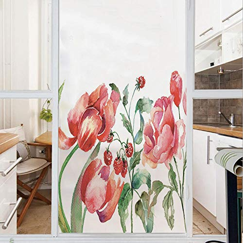 Decorative Window Film,No Glue Frosted Privacy Film,Stained Glass Door Film,Grunge Inspired Botanical Arrangement of Fruits and Flowers Ecology Decorative,for Home & Office,23.6In. by 78.7In Rose Red - Roses Arrangement Glass