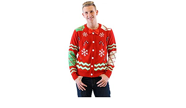 a003505d53b Amazon.com  Candy Canes and Snowflakes Red Button up Ugly Christmas Sweater  with Bowtie  Clothing