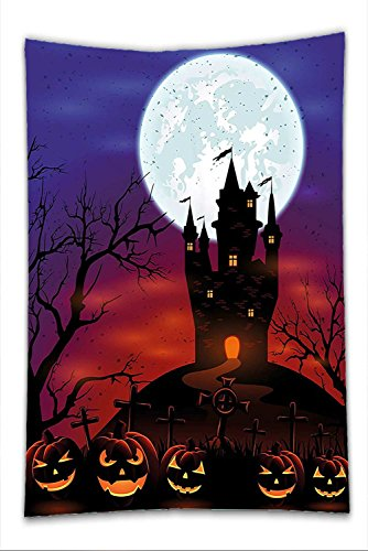 Halloween Costumes Castle Hill - Nalahome Fleece Throw Blanket Halloween Decorations Gothic Haunted House Castle on Top of Hill Valley Night Sky October Festival Theme Decor Multi