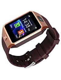 Kivors DZ09 Bluetooth Smart Watch Phone WristWatch Fit for Smartphones IOS Apple iphone Android Samsung /HTC Sony Blackberry and Other Andriod Phone (Gold-Brown)