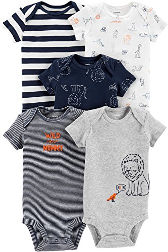 Lion Body - Carter's Baby Boys 5-Pack Original Short Sleeve Bodysuits (Lion) (6 Months)