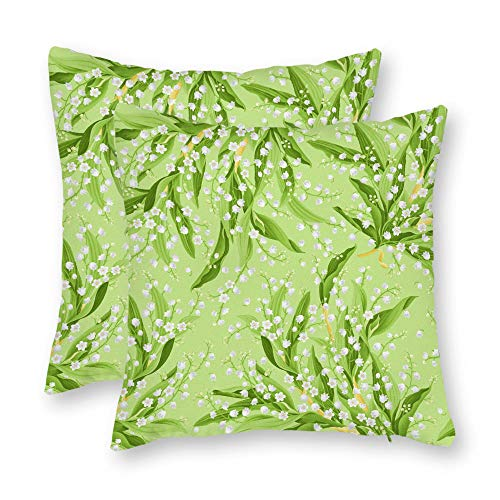 DKISEE Set of 2 Abstract Maywood Studio Greenery Green Lily of The Valley Square Throw Pillow Cover Canvas Pillow Case Sofa Couch Chair Cushion Cover for Home Decor