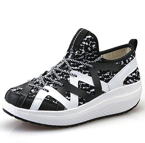 XIE Señoras Wedge Heels Net Respirable Casual Perezoso no Deslizamiento Zapatos Primavera y Verano Otoño/sacudir Zapatos, 1677-1 Black, 35 35|1677-1 black