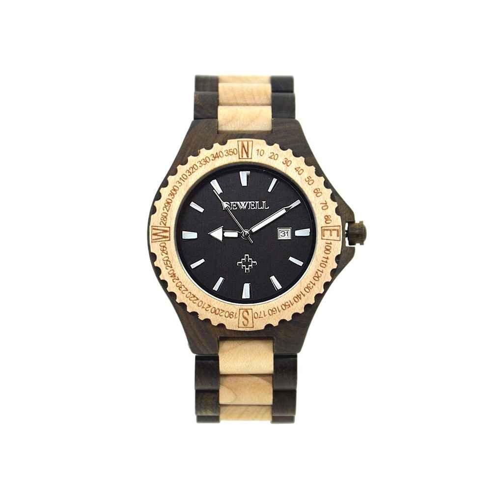 w023 aメンズ木製バングルクォーツ腕時計日付表示木製腕時計forギフト fSB1582 B07719J46Gブラック1